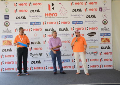 Karan with Mr. Munjal and Mrs. Kavita Singh during the 2016 Hero Women's Indian Open Pro-am briefing