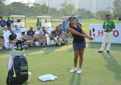 Cheyenne Woods during th skills challenge